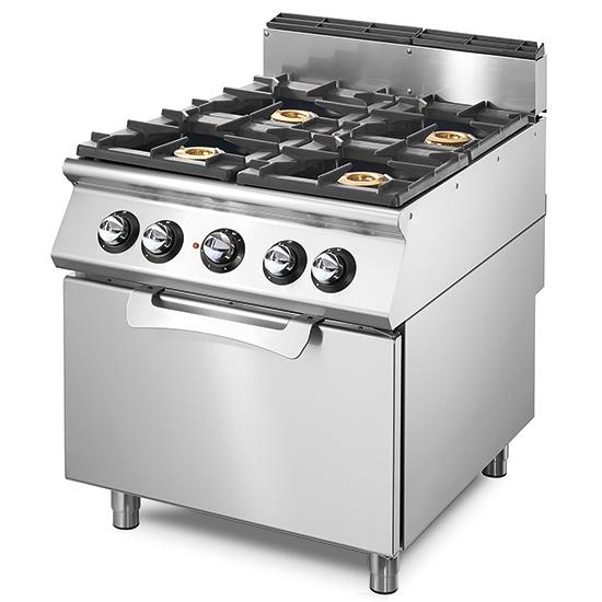 Cocina a gas sobre horno de gas estático GN 2/1, 4 fuegos